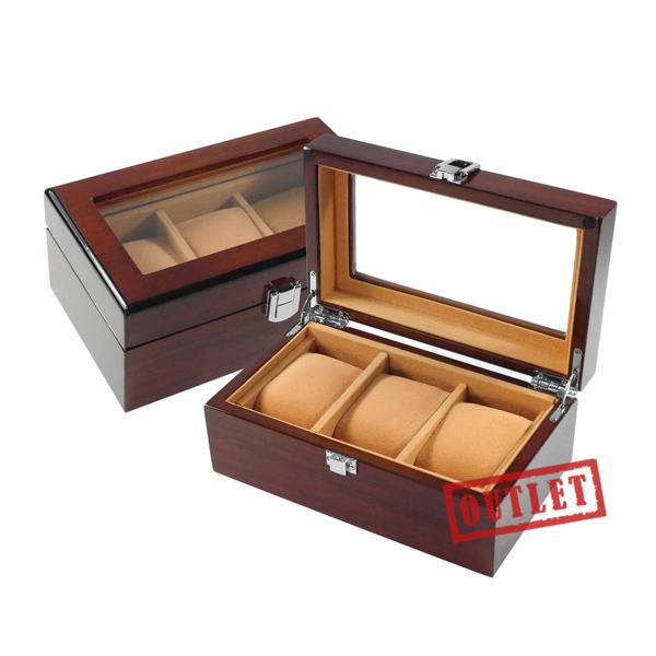 展示福利品8折↘手錶收藏盒 配件收納 3入腕錶收藏盒 鋼琴烤漆 - 駝色x紅褐木紋 #842-MQ-1001-1-defect