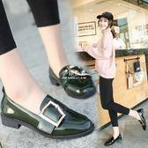英倫風粗跟女鞋布洛克漆皮圓頭單鞋學院學生小皮鞋潮  伊莎公主