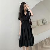 短袖洋裝2020夏季新款女裝收腰顯瘦氣質法式連身裙短袖小黑裙A字中長裙子 童趣屋