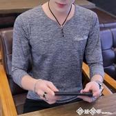 男士t恤長袖V領春秋季新款韓版潮流學生衣服男秋裝打底衫薄款上衣 西城故事