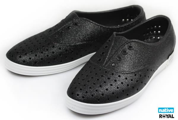 Native 新竹皇家 JERICHO 黑色 亮片 輕量 懶人鞋 女款  NO.I6930