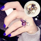璀璨彩色立體水晶優雅百搭歐美韓版女戒韓國時尚夸張女士戒指 時尚芭莎鞋櫃
