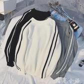 港風情侶毛衣套頭韓版潮流寬鬆冬季拼色條紋學生個性圓領針織衫男  晴光小語