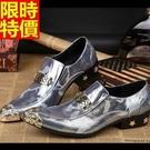 皮鞋真皮尖頭鞋品味帥氣-個性迷彩金屬頭金屬環扣低跟男鞋子2色65ai7【巴黎精品】