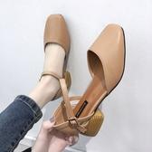 涼鞋女 包頭涼鞋仙女風學生百搭夏季女鞋一字高跟鞋粗跟中跟