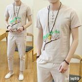 大尺碼棉麻套裝 氣質慵懶風薄款亞麻套裝男夏季青年棉麻九分褲兩件套 QG21196『Bad boy時尚』