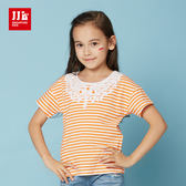 JJLKIDS 女童 百搭華麗造型蕾絲造型短袖上衣 T恤(亮橙)