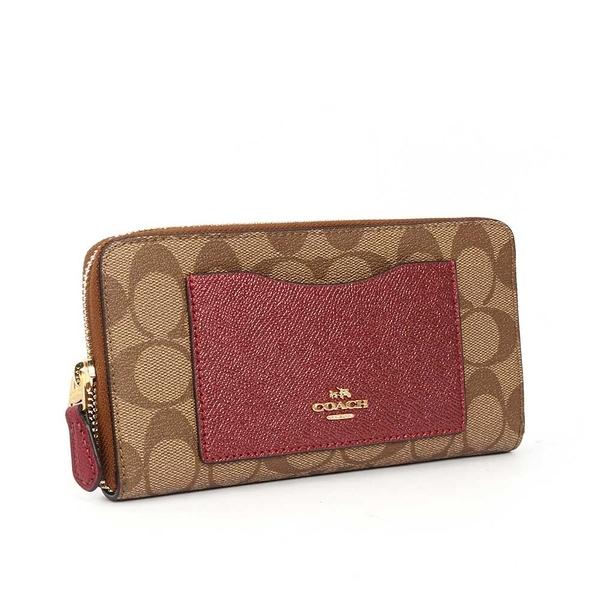 【COACH】PVC LOGO口袋ㄇ拉長夾禮盒(金屬紅)F22712 IMMWK