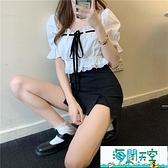 白色襯衫女方領短款泡泡袖設計感上衣夏季新款綁帶短袖i【海闊天空】