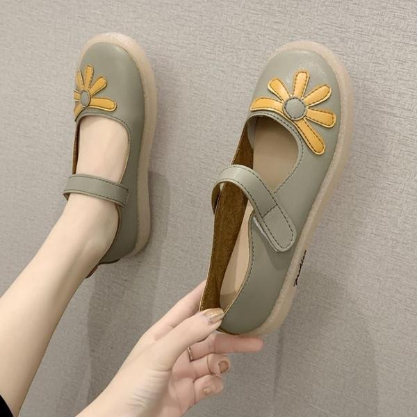 娃娃鞋 女圓頭夏季新款韓版百搭淺口單鞋平底軟皮爆款 - 古梵希
