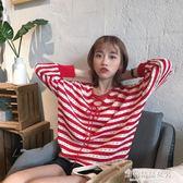 針織衫女 韓國復古Chic前後兩穿V領綁帶繫帶長袖毛衣女 條紋寬鬆 學生針織衫【蘇荷精品女裝】