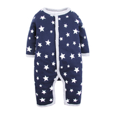 男Baby男童長袖鋪棉連身衣藍色星星印花純棉連身衣現貨歐美品質