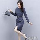 OL洋裝職業女裝年秋季新款長袖條紋連身裙修身中長款收腰OL一步裙子 快速出貨
