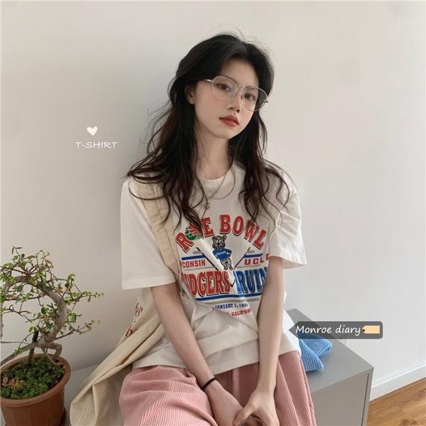 寬松卡通印花白色短袖T恤女2021新款夏設計感小眾半袖上衣服潮ins