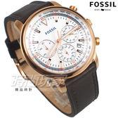 FOSSIL 視距儀 三眼多功能計時腕錶 飛行錶 真皮錶帶 男錶 中性錶 防水手錶 咖啡x玫瑰金色 FS5415