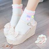 襪子 愛心三色蝴蝶結短襪-Ruby s 露比午茶