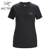 【ARC TERYX 始祖鳥 女 LOGO短袖休閒短袖T恤《黑灰》】25230/圓領短袖/運動短袖/短袖上衣