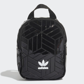 ADIDAS 後背包 小背包 黑 塑膠亮面 白LOGO 基本款 (布魯克林) FL9679