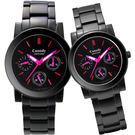 【僾瑪精品】Canody 絕對引力三眼日曆時尚對錶(IP黑x桃紅時標) GM2585-1E+GB2585-1E