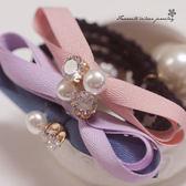 雙層蝴蝶結鋯石珍珠髮束 FS2006【櫻桃飾品】【20485】