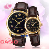 CASIO 卡西歐 手錶專賣店 MTP-V001GL-1B+LTP-V001GL-1B  對錶 石英錶 皮革錶帶 防水