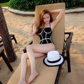 黑白三角大小胸聚攏保守連體性感比基尼顯瘦遮肚度假溫泉裝泳衣女