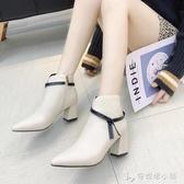 新款秋季高跟鞋女及踝裸靴黑色馬丁靴女尖頭網紅短靴女瘦瘦靴 安妮塔小鋪