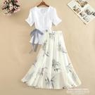 兩件式洋裝 夏季新款短袖白色v領T恤衫印花高腰半身裙時尚修身兩件套連身裙子 新品