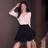 女裝套裝春季性感V領針織開衫 高腰荷葉邊抽繩綁帶半身裙套裝1205 伊羅 新品