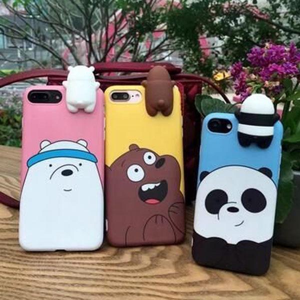 【SZ25】iPhone7/8 plus手機殼 立體趴趴裸熊 iPhone 6s plus手機殼 全包軟邊 iPhone7/8 保護套