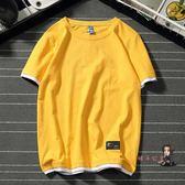 短袖T恤 韓版清新假兩件t恤男女情侶短袖衫棉質寬鬆大碼青少年百搭t恤男裝 10色S-4XL