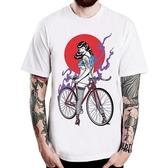 Tattoo Fixed Gear Girl短袖T恤-白色 單速車 腳踏車 刺青插畫潮流藝術 390 gildan