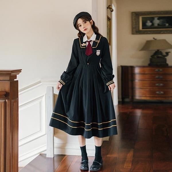 襯裙 長裙襯衫配領帶學院風jk制服裙復古刺繡海軍領氣質甜美連衣裙 莎瓦迪卡