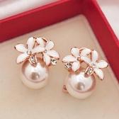 時尚耳飾耳釘氣質韓國個性人造珍珠小花朵簡約耳環女百搭搭配飾品 居享優品