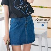 A字裙--經典時尚氣質單寧前後雙口袋顯瘦修身摺紋A字牛仔短裙(藍S-5L)-Q92眼圈熊中大尺碼