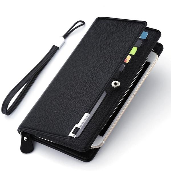 錢包 長款皮夾多卡位錢夾手包男款商務拉鏈多功能手機包潮