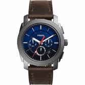 FOSSIL Machine Gunmetal 重裝計時手錶-藍x咖啡/45mm FS5388