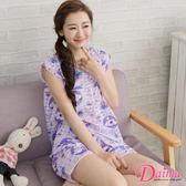 格紋白熊舒適寬鬆居家服兩件式睡衣褲_紫【Daima黛瑪】