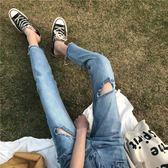 正韓寬鬆破洞哈倫褲顯瘦高腰單寧牛仔褲女學生褲子潮優樂居生活館