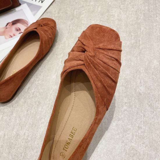 六月芬蘭方頭扭結蜜桃絨布平底鞋娃娃鞋包鞋(31-43)現貨