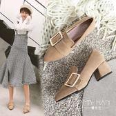 高跟鞋  粗跟單鞋女2018新款秋季女鞋百搭中跟尖頭英倫風高跟鞋韓版工鞋女