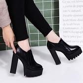 粗跟裸靴 超高跟馬丁靴 春秋新款歐美圓頭短靴女高跟鞋皮面靴子女冬 店慶降價