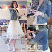 初信短款破洞牛仔外套女2017夏季新款韓版修身牛仔衣貼布大碼外套 藍嵐