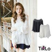 棉麻上衣-Tirlo-鏤空蕾絲一字領拚素色長袖上衣-兩色