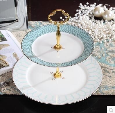 盤子歐式陶瓷創意餐具高檔點心雙層兩層盤水果糖果盤下午茶串盤