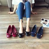 女鞋小菱格漆皮面蝴蝶結單鞋 淺口方頭軟底韓版平底鞋 果果輕時尚