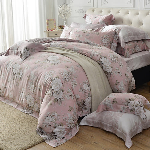 義大利La Belle《花夢仙境》雙人天絲四件式防蹣抗菌舖棉兩用被床包組