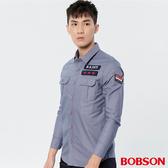 BOBSON 男款軍風貼標襯衫(36005-87)