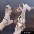 涼鞋仙女風2021新款夏季時尚外穿百搭粗跟中跟一字帶水鑚高跟【全館免運】