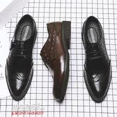 休閒皮鞋商務皮鞋布洛克男士商務鞋子男鞋潮流韓版英倫正裝尖頭黑色休閑皮鞋男